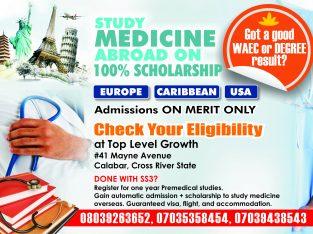 STUDY MEDICINE OVERSEAS ON 100% SCHOLARSHIP